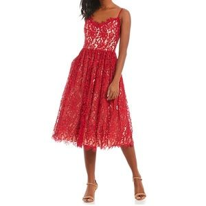 Eliza J Red Illusion Lace Midi Dress